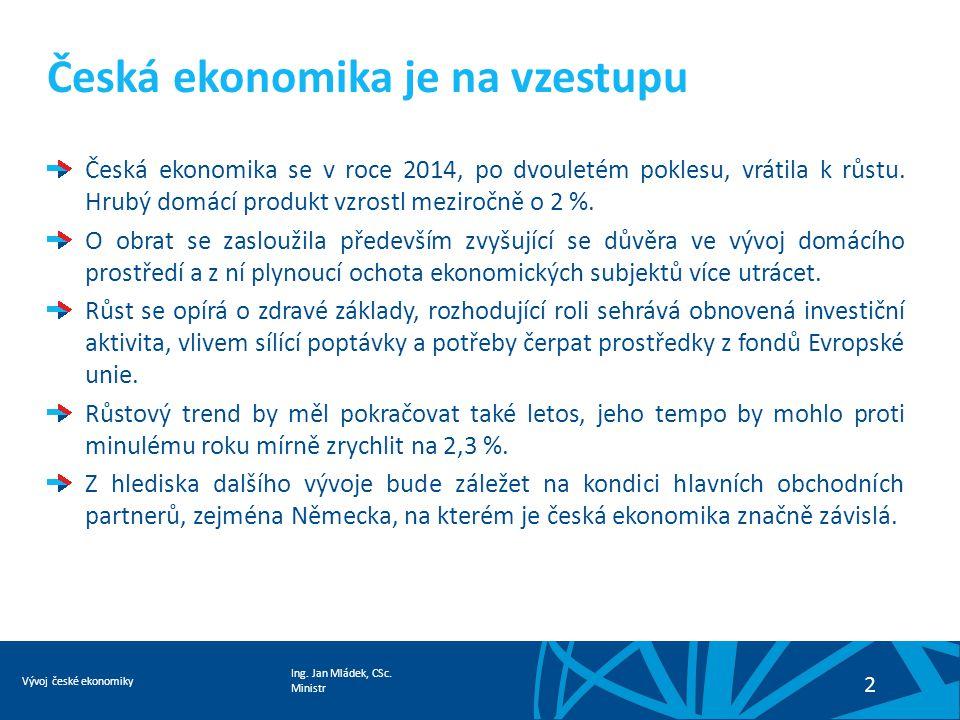 Ing. Jan Mládek, CSc. Ministr Vývoj české ekonomiky 2 Česká ekonomika je na vzestupu Česká ekonomika se v roce 2014, po dvouletém poklesu, vrátila k r