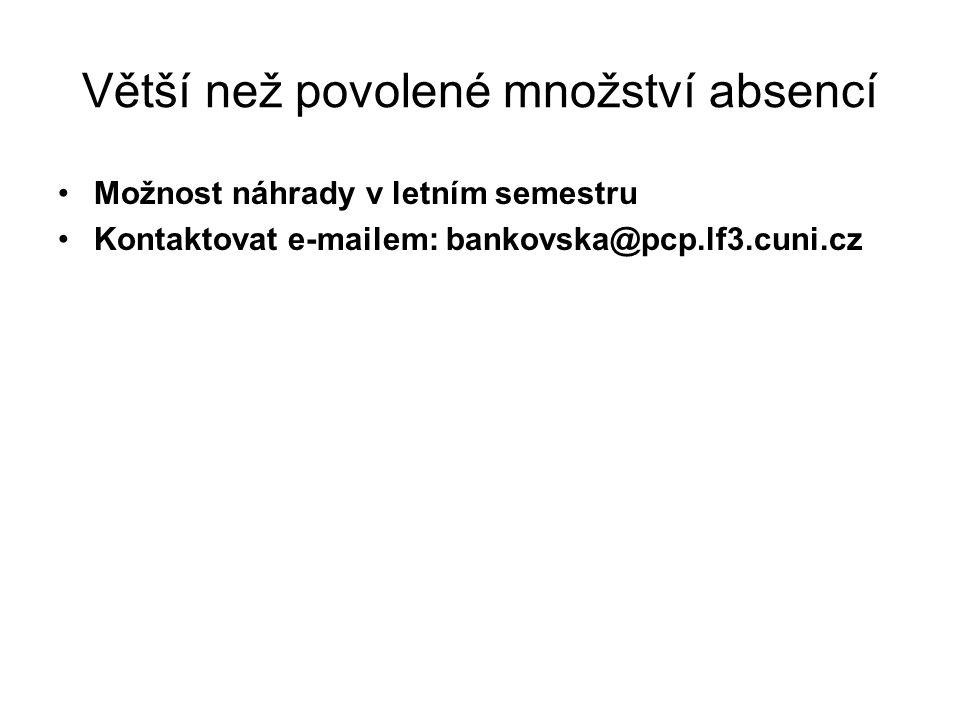 Větší než povolené množství absencí Možnost náhrady v letním semestru Kontaktovat e-mailem: bankovska@pcp.lf3.cuni.cz
