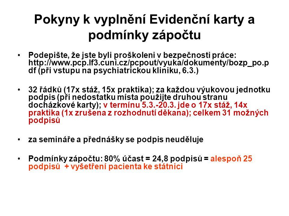 Pokyny k vyplnění Evidenční karty a podmínky zápočtu Podepište, že jste byli proškoleni v bezpečnosti práce: http://www.pcp.lf3.cuni.cz/pcpout/vyuka/d