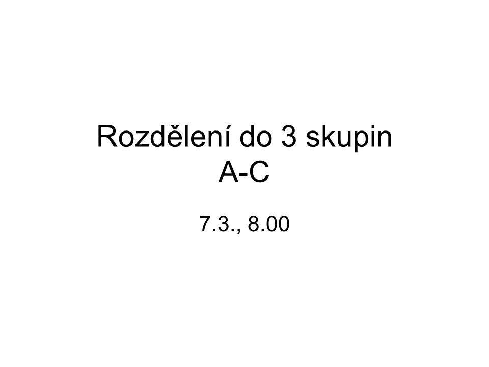 Rozdělení do 3 skupin A-C 7.3., 8.00