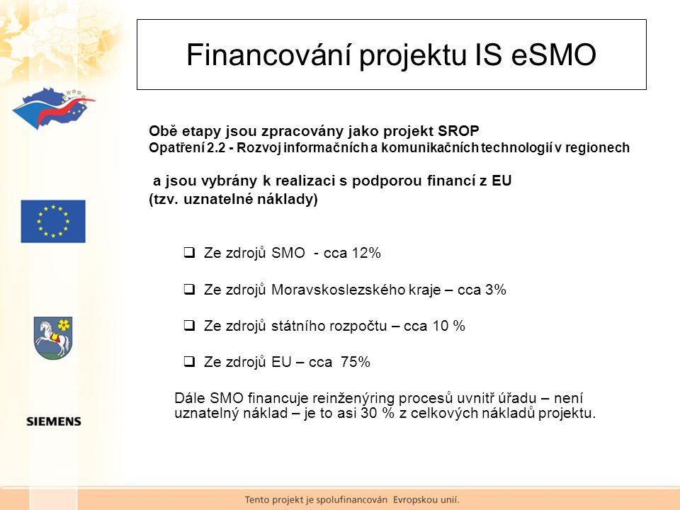 Financování projektu IS eSMO Obě etapy jsou zpracovány jako projekt SROP Opatření 2.2 - Rozvoj informačních a komunikačních technologií v regionech a