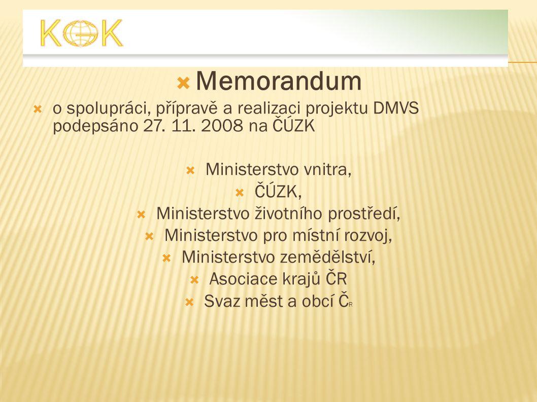  Memorandum  o spolupráci, přípravě a realizaci projektu DMVS podepsáno 27. 11. 2008 na ČÚZK  Ministerstvo vnitra,  ČÚZK,  Ministerstvo životního
