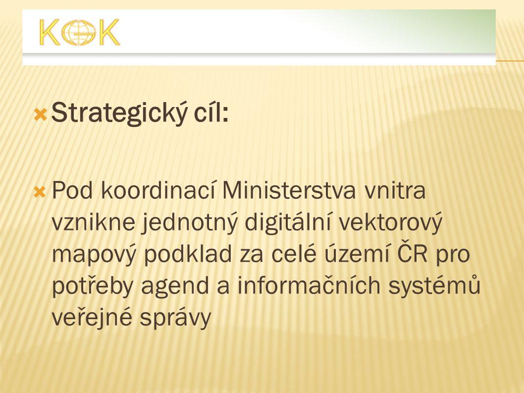 Strategický cíl:  Pod koordinací Ministerstva vnitra vznikne jednotný digitální vektorový mapový podklad za celé území ČR pro potřeby agend a infor