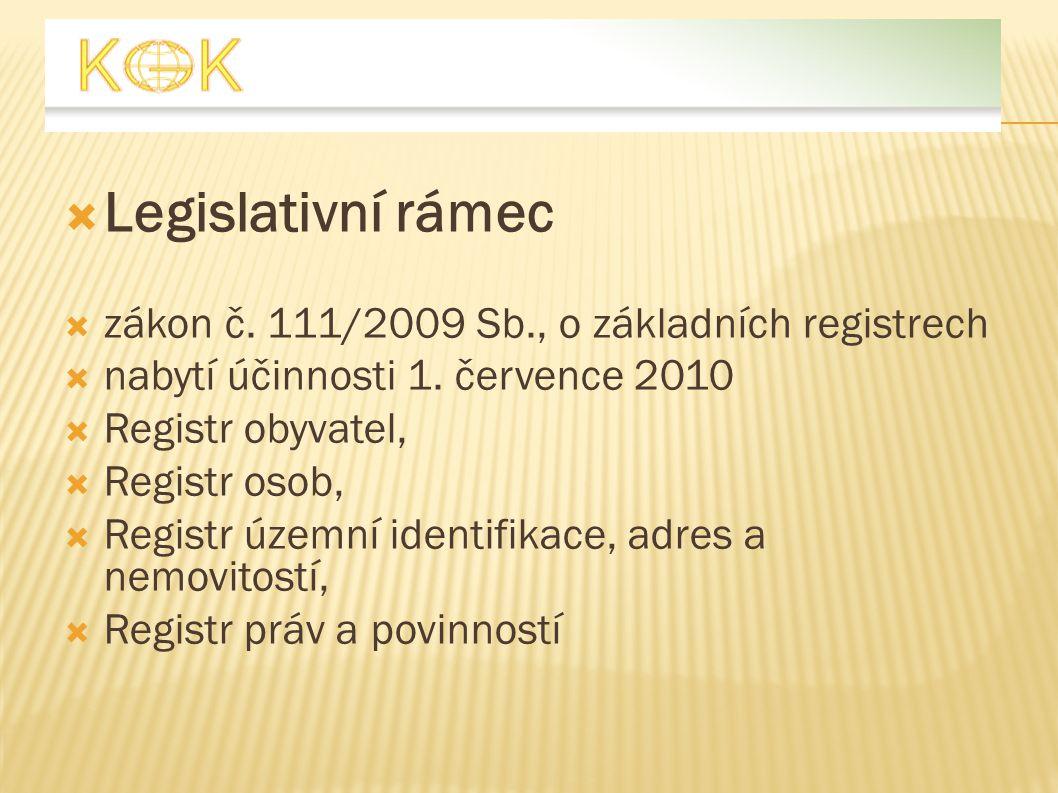  Legislativní rámec  zákon č. 111/2009 Sb., o základních registrech  nabytí účinnosti 1. července 2010  Registr obyvatel,  Registr osob,  Regist