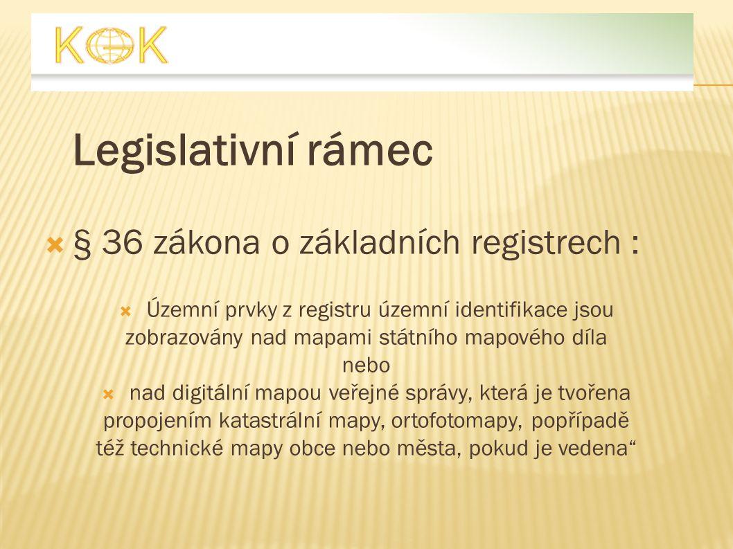 Legislativní rámec  § 36 zákona o základních registrech :  Územní prvky z registru územní identifikace jsou zobrazovány nad mapami státního mapového
