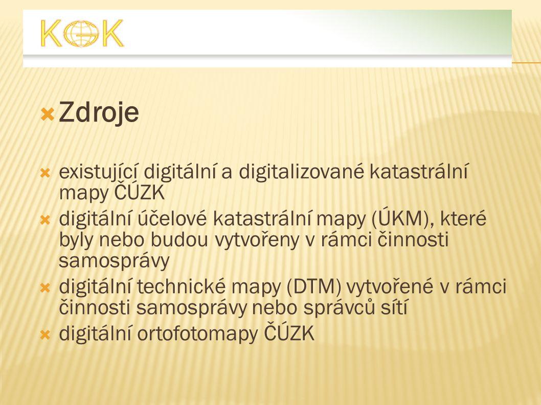  Zdroje  existující digitální a digitalizované katastrální mapy ČÚZK  digitální účelové katastrální mapy (ÚKM), které byly nebo budou vytvořeny v r