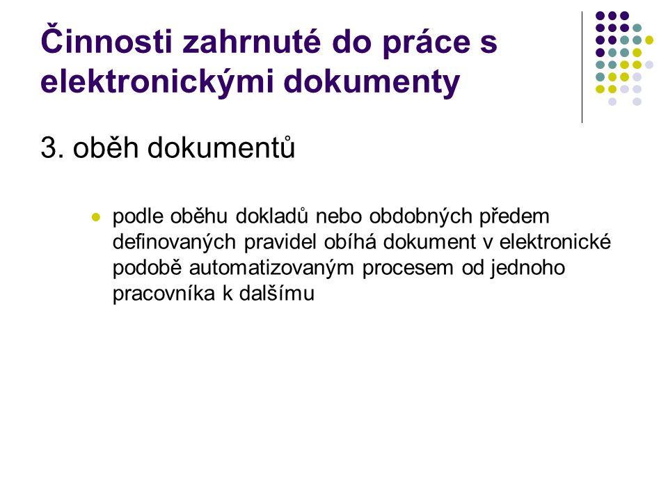 Činnosti zahrnuté do práce s elektronickými dokumenty 3.