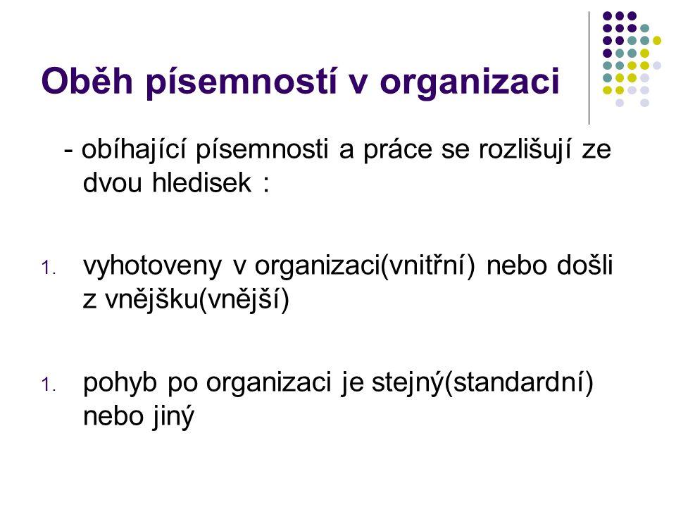 Oběh písemností v organizaci - obíhající písemnosti a práce se rozlišují ze dvou hledisek : 1.