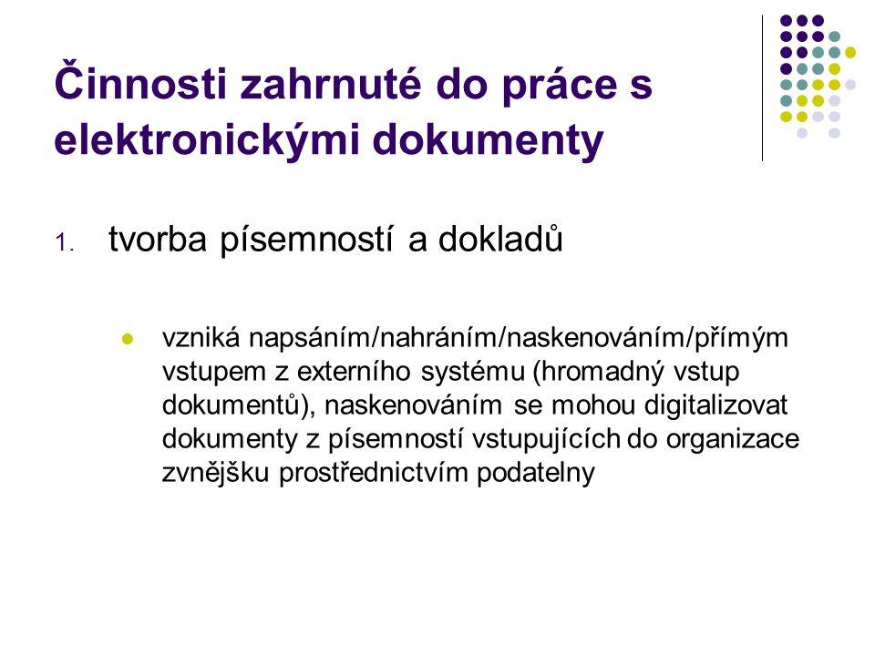 Činnosti zahrnuté do práce s elektronickými dokumenty 1.
