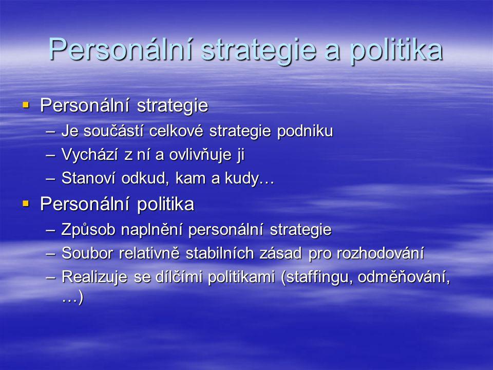 Personální strategie a politika  Personální strategie –Je součástí celkové strategie podniku –Vychází z ní a ovlivňuje ji –Stanoví odkud, kam a kudy…  Personální politika –Způsob naplnění personální strategie –Soubor relativně stabilních zásad pro rozhodování –Realizuje se dílčími politikami (staffingu, odměňování, …)