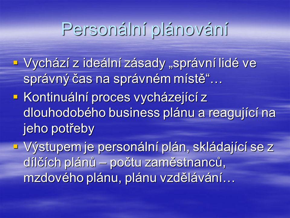 """Personální plánování  Vychází z ideální zásady """"správní lidé ve správný čas na správném místě …  Kontinuální proces vycházející z dlouhodobého business plánu a reagující na jeho potřeby  Výstupem je personální plán, skládající se z dílčích plánů – počtu zaměstnanců, mzdového plánu, plánu vzdělávání…"""