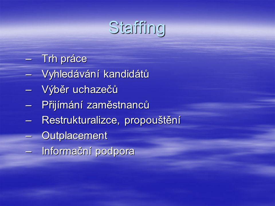 Staffing –Trh práce –Vyhledávání kandidátů –Výběr uchazečů –Přijímání zaměstnanců –Restrukturalizce, propouštění –Outplacement –Informační podpora