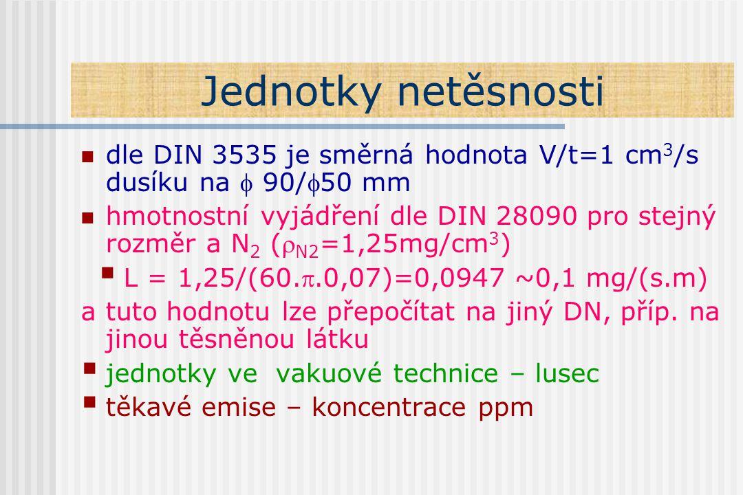 Jednotky netěsnosti dle DIN 3535 je směrná hodnota V/t=1 cm 3 /s dusíku na  90/50 mm hmotnostní vyjádření dle DIN 28090 pro stejný rozměr a N 2 ( N