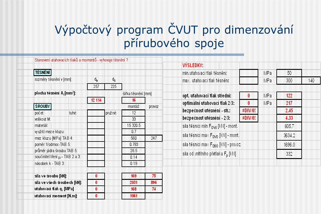 Výpočtový program ČVUT pro dimenzování přírubového spoje