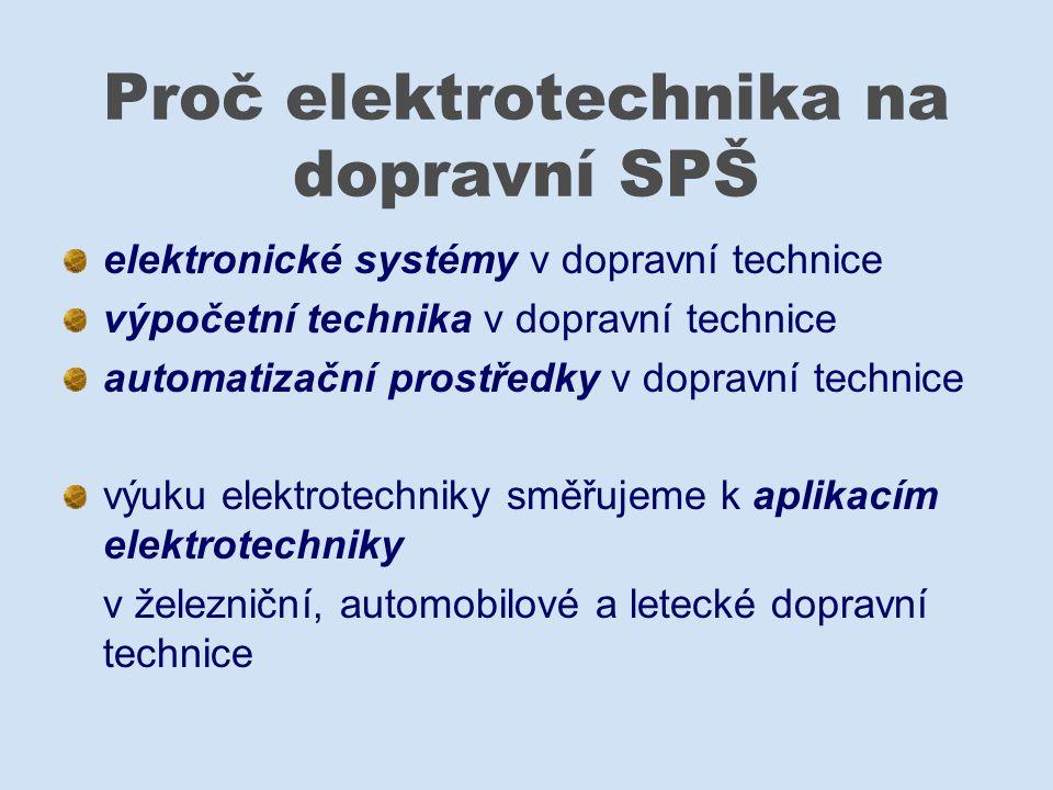 Výuka elektrotechniky na VOŠ a SPŠ Masná Teoretická příprava Prohlubovaní teoretických poznatků v elektrotechnické laboratoři v programovém vybavení během praxe ve školních dílnách při externí praxi v podnicích s dopravním zaměřením