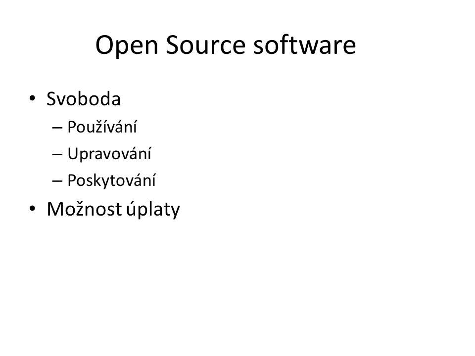 Open Source software Svoboda – Používání – Upravování – Poskytování Možnost úplaty