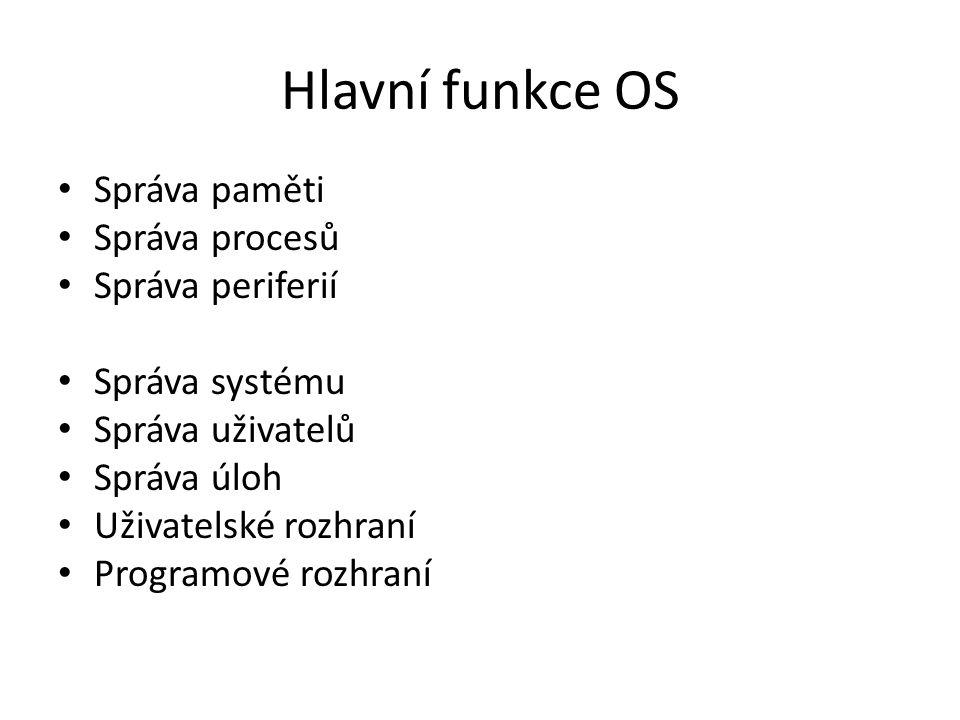 Hlavní funkce OS Správa paměti Správa procesů Správa periferií Správa systému Správa uživatelů Správa úloh Uživatelské rozhraní Programové rozhraní