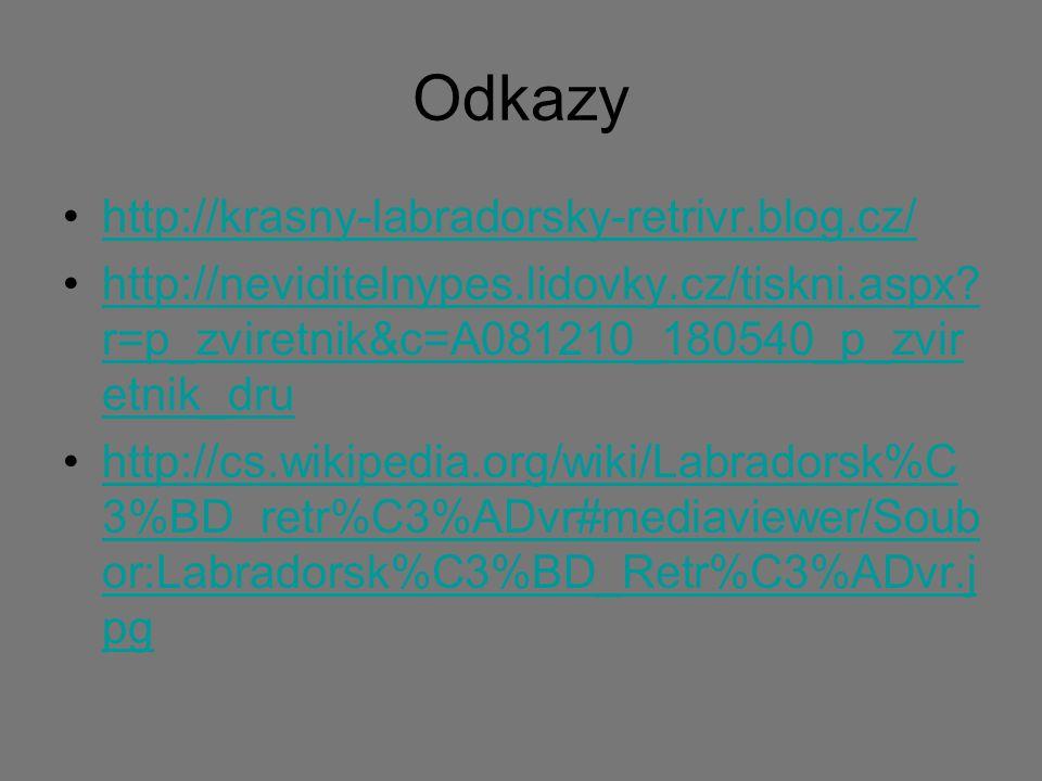 Odkazy http://krasny-labradorsky-retrivr.blog.cz/ http://neviditelnypes.lidovky.cz/tiskni.aspx? r=p_zviretnik&c=A081210_180540_p_zvir etnik_druhttp://