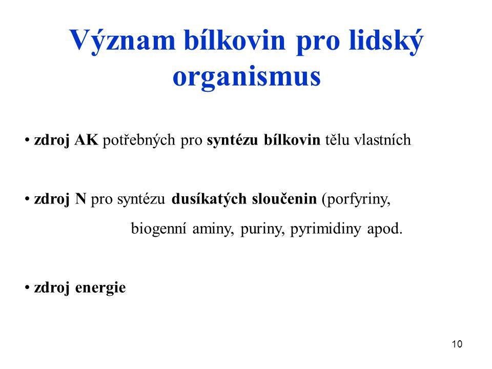 10 Význam bílkovin pro lidský organismus zdroj AK potřebných pro syntézu bílkovin tělu vlastních zdroj N pro syntézu dusíkatých sloučenin (porfyriny, biogenní aminy, puriny, pyrimidiny apod.
