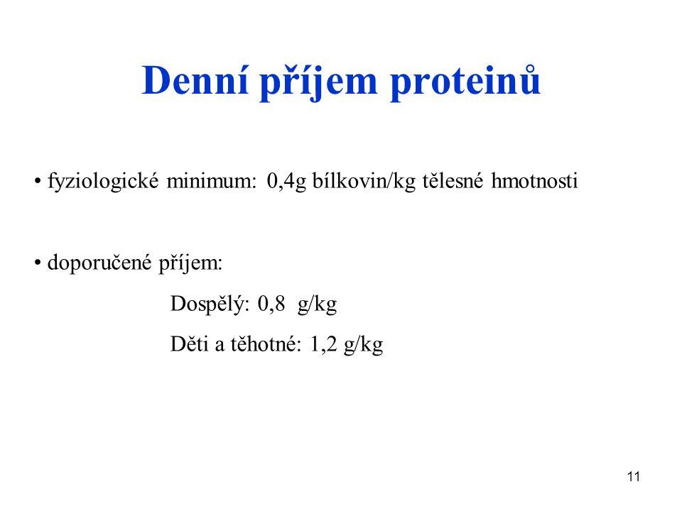 11 Denní příjem proteinů fyziologické minimum: 0,4g bílkovin/kg tělesné hmotnosti doporučené příjem: Dospělý: 0,8 g/kg Děti a těhotné: 1,2 g/kg
