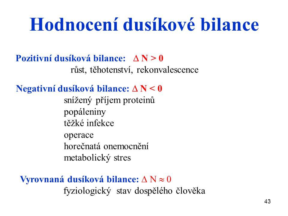 43 Hodnocení dusíkové bilance Pozitivní dusíková bilance:  N > 0 růst, těhotenství, rekonvalescence Negativní dusíková bilance:  N < 0 snížený příjem proteinů popáleniny těžké infekce operace horečnatá onemocnění metabolický stres Vyrovnaná dusíková bilance:  N  0 fyziologický stav dospělého člověka