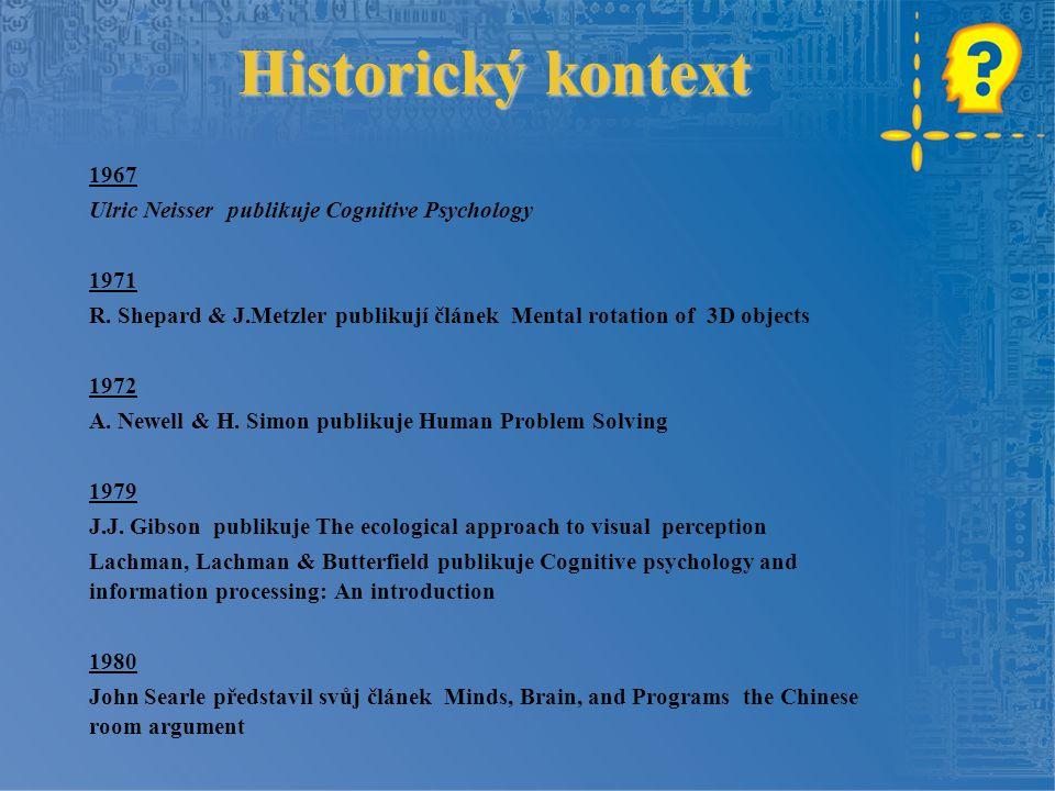 Historický kontext 1967 Ulric Neisser publikuje Cognitive Psychology 1971 R. Shepard & J.Metzler publikují článek Mental rotation of 3D objects 1972 A
