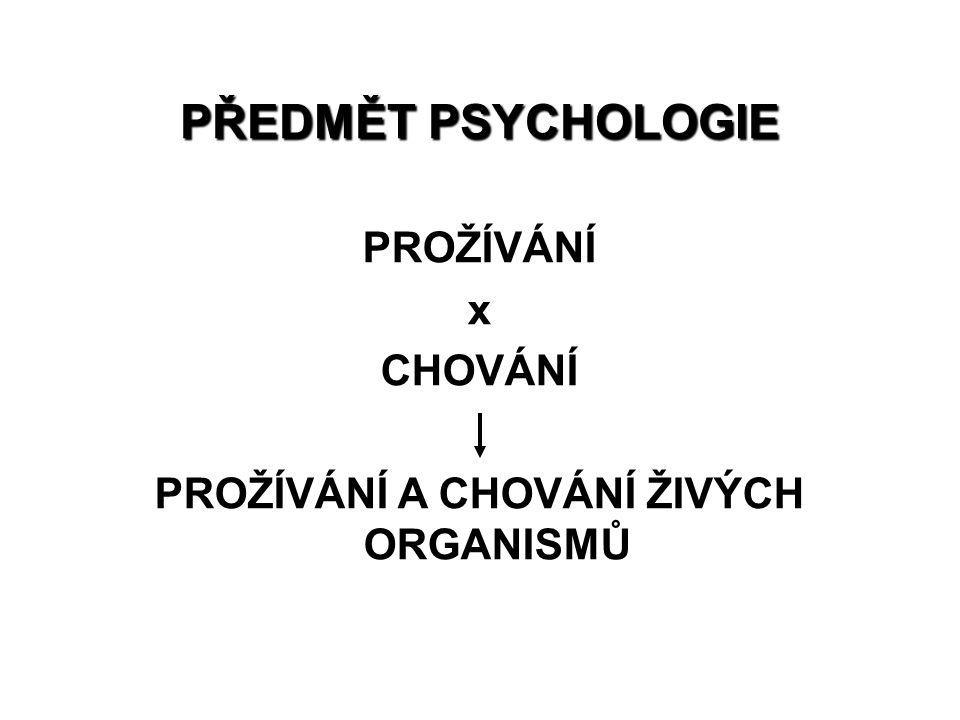 PŘEDMĚT PSYCHOLOGIE PROŽÍVÁNÍ x CHOVÁNÍ PROŽÍVÁNÍ A CHOVÁNÍ ŽIVÝCH ORGANISMŮ