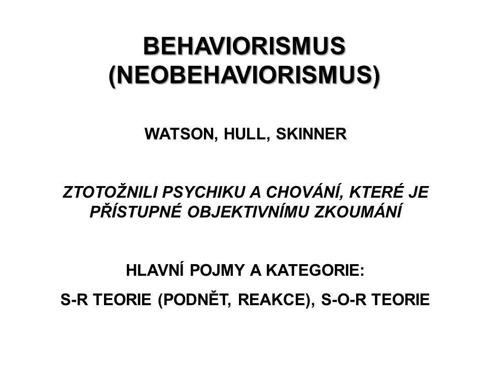 BEHAVIORISMUS (NEOBEHAVIORISMUS) WATSON, HULL, SKINNER ZTOTOŽNILI PSYCHIKU A CHOVÁNÍ, KTERÉ JE PŘÍSTUPNÉ OBJEKTIVNÍMU ZKOUMÁNÍ HLAVNÍ POJMY A KATEGORI