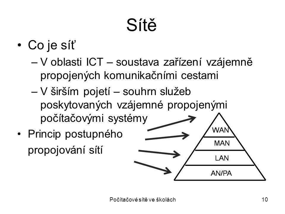 Sítě Co je síť –V oblasti ICT – soustava zařízení vzájemně propojených komunikačními cestami –V širším pojetí – souhrn služeb poskytovaných vzájemné p
