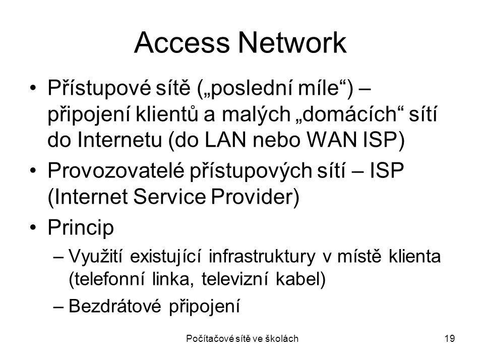 """Access Network Přístupové sítě (""""poslední míle"""") – připojení klientů a malých """"domácích"""" sítí do Internetu (do LAN nebo WAN ISP) Provozovatelé přístup"""