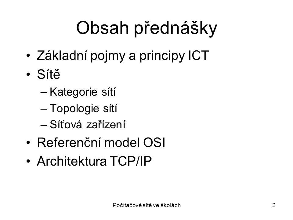 2 Obsah přednášky Základní pojmy a principy ICT Sítě –Kategorie sítí –Topologie sítí –Síťová zařízení Referenční model OSI Architektura TCP/IP