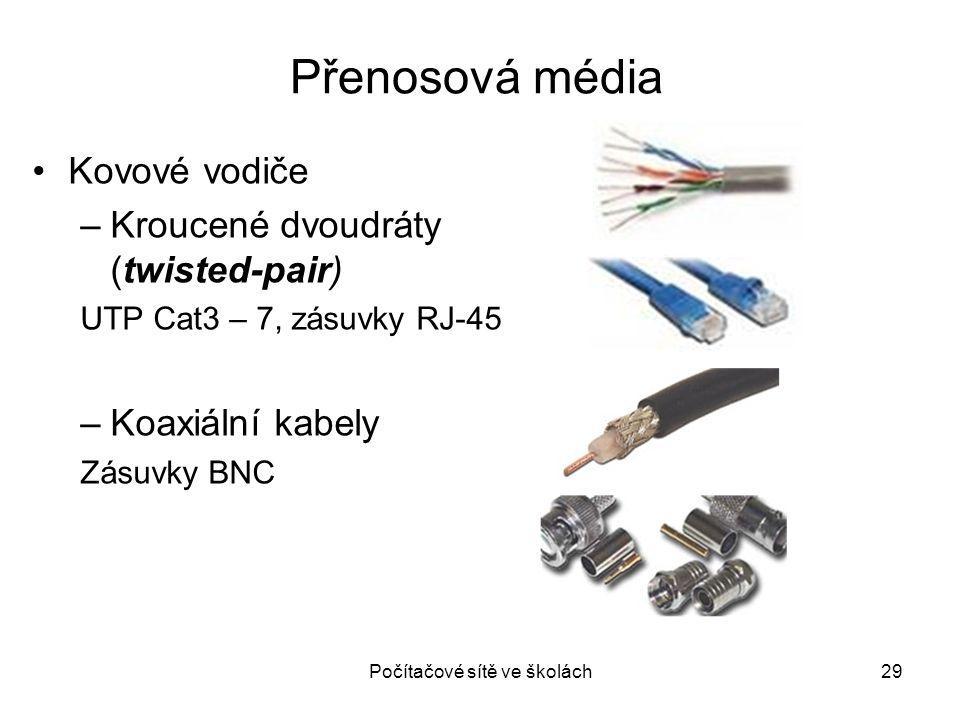 Přenosová média Počítačové sítě ve školách29 Kovové vodiče –Kroucené dvoudráty (twisted-pair) UTP Cat3 – 7, zásuvky RJ-45 –Koaxiální kabely Zásuvky BN
