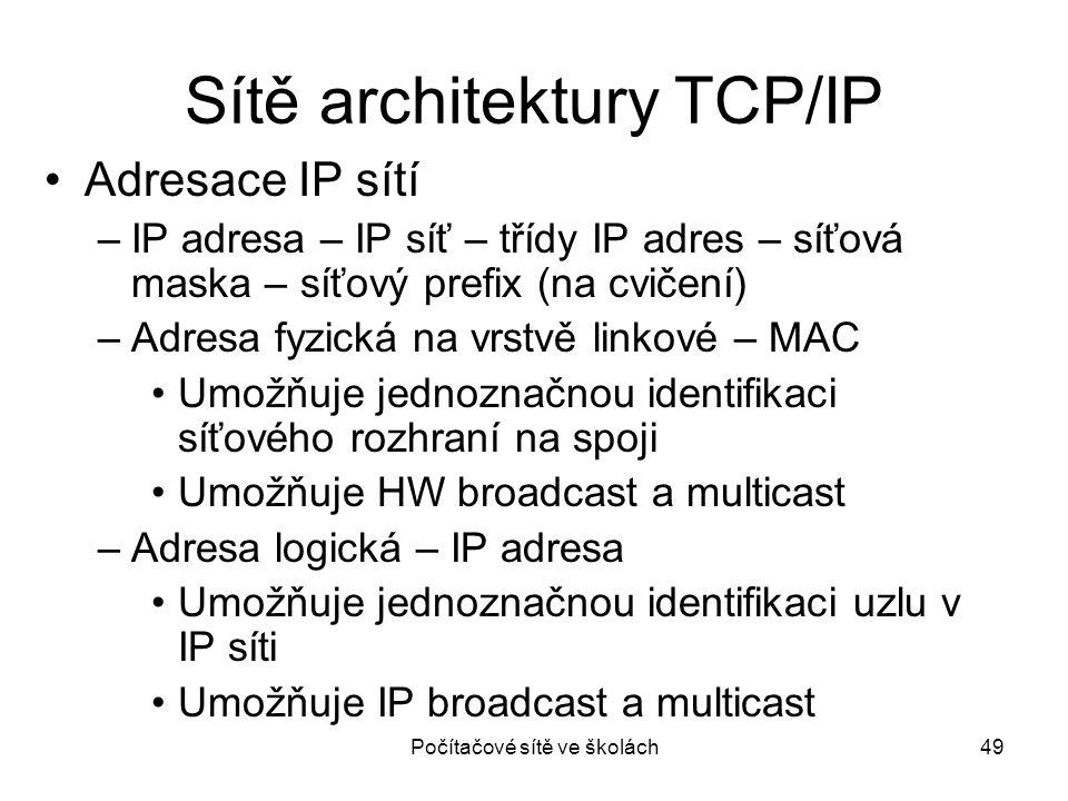 Počítačové sítě ve školách49 Sítě architektury TCP/IP Adresace IP sítí –IP adresa – IP síť – třídy IP adres – síťová maska – síťový prefix (na cvičení