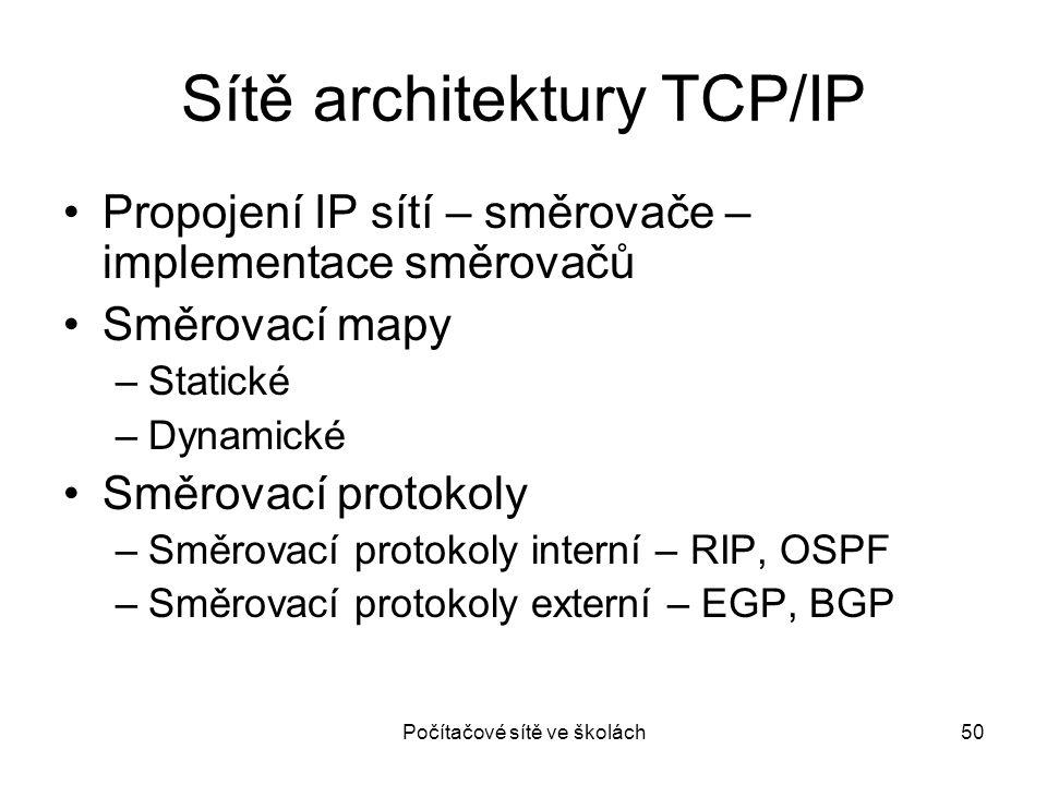 Sítě architektury TCP/IP Propojení IP sítí – směrovače – implementace směrovačů Směrovací mapy –Statické –Dynamické Směrovací protokoly –Směrovací pro