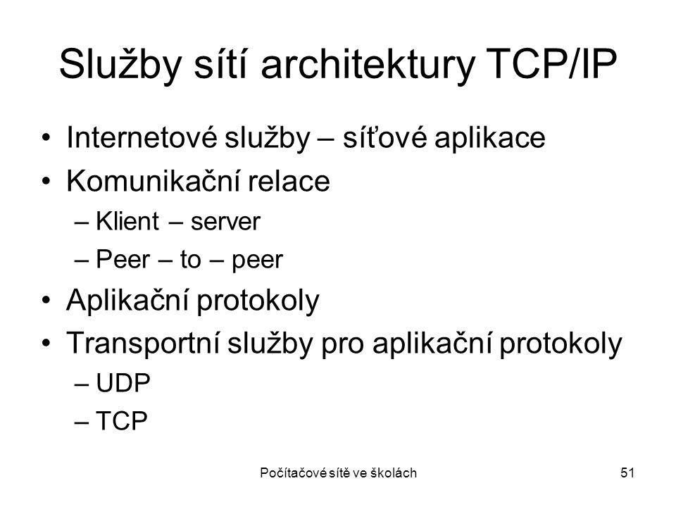 Počítačové sítě ve školách51 Služby sítí architektury TCP/IP Internetové služby – síťové aplikace Komunikační relace –Klient – server –Peer – to – pee