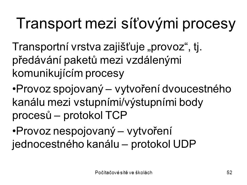 """Transport mezi síťovými procesy Transportní vrstva zajišťuje """"provoz"""", tj. předávání paketů mezi vzdálenými komunikujícím procesy Provoz spojovaný – v"""
