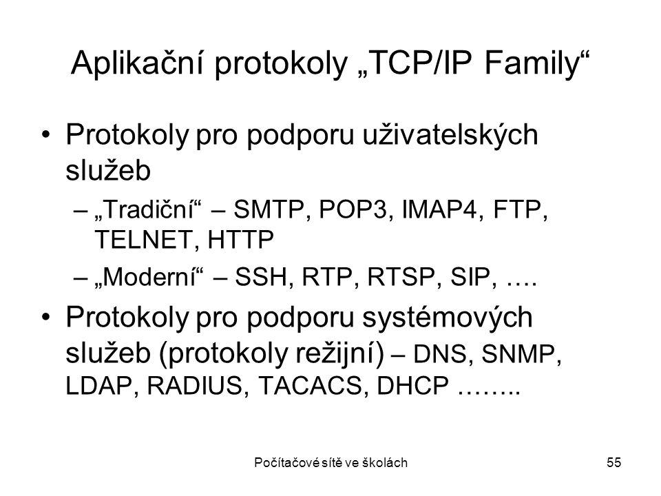 """Počítačové sítě ve školách55 Aplikační protokoly """"TCP/IP Family"""" Protokoly pro podporu uživatelských služeb –""""Tradiční"""" – SMTP, POP3, IMAP4, FTP, TELN"""