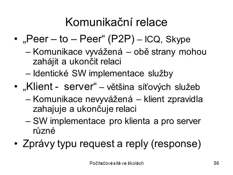 """Počítačové sítě ve školách56 Komunikační relace """"Peer – to – Peer"""" (P2P) – ICQ, Skype –Komunikace vyvážená – obě strany mohou zahájit a ukončit relaci"""