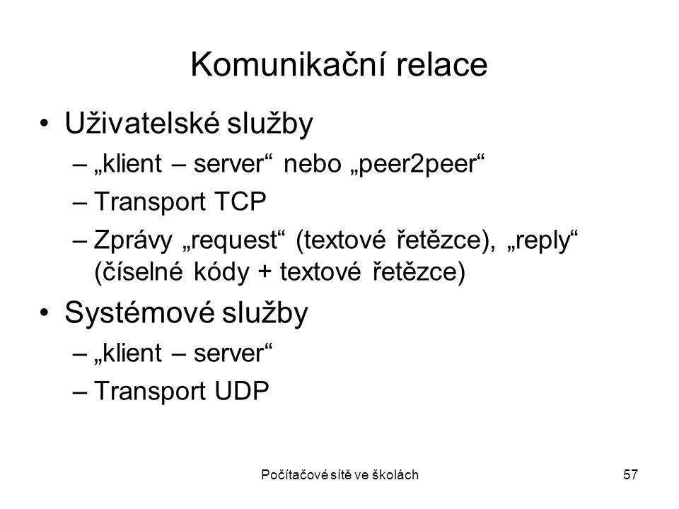 """Počítačové sítě ve školách57 Komunikační relace Uživatelské služby –""""klient – server"""" nebo """"peer2peer"""" –Transport TCP –Zprávy """"request"""" (textové řetěz"""