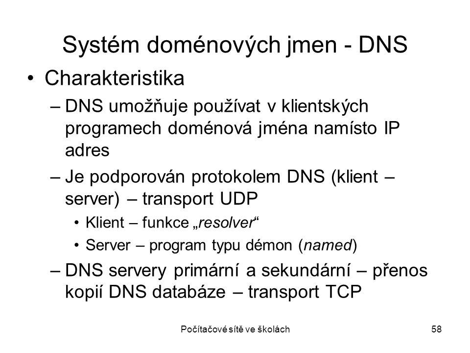 Počítačové sítě ve školách58 Systém doménových jmen - DNS Charakteristika –DNS umožňuje používat v klientských programech doménová jména namísto IP ad