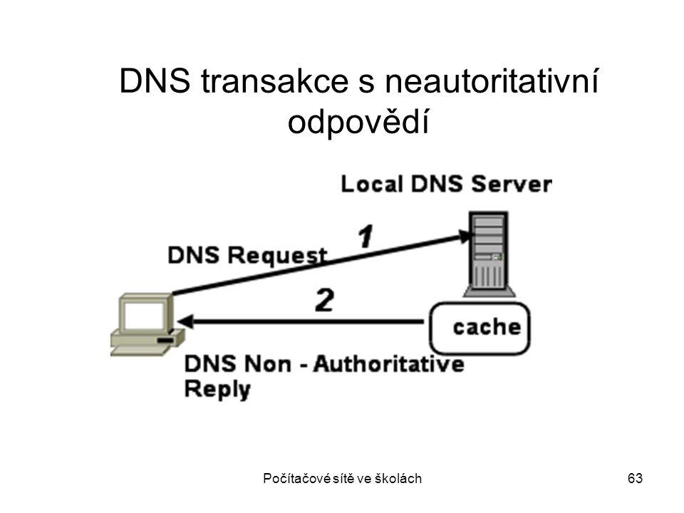 Počítačové sítě ve školách63 DNS transakce s neautoritativní odpovědí