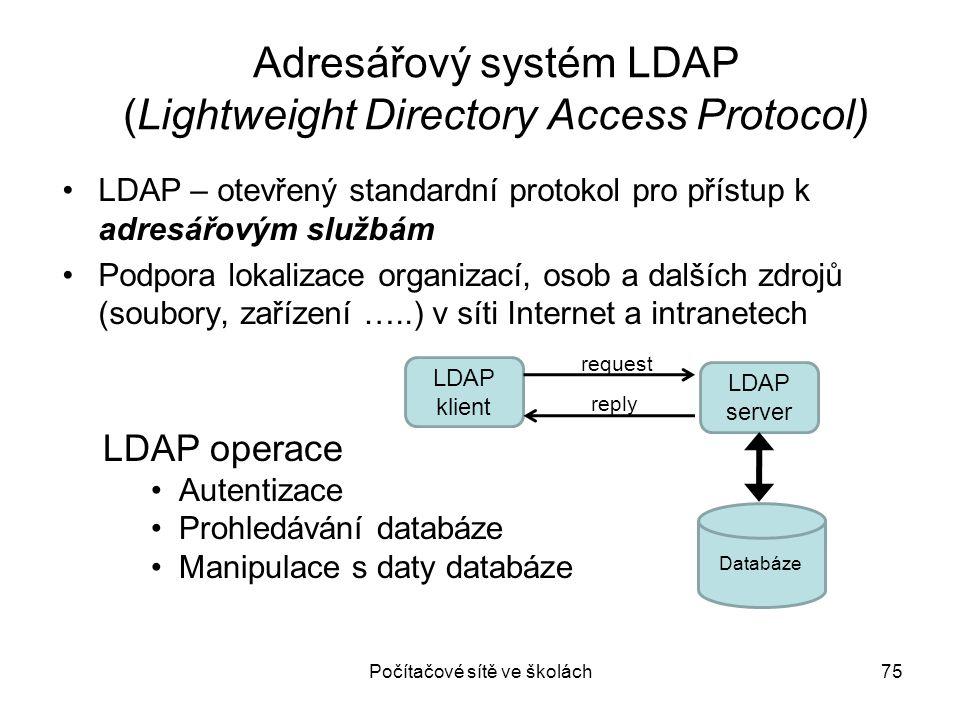 Počítačové sítě ve školách75 Adresářový systém LDAP (Lightweight Directory Access Protocol) LDAP – otevřený standardní protokol pro přístup k adresářo