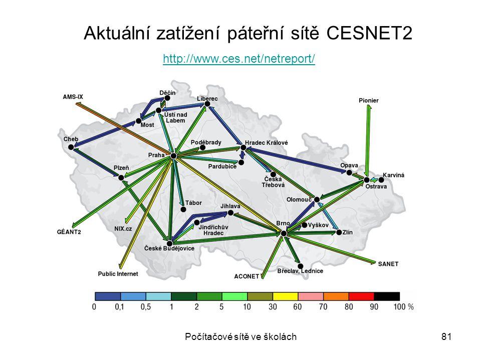 Počítačové sítě ve školách81 http://www.ces.net/netreport/ Aktuální zatížení páteřní sítě CESNET2