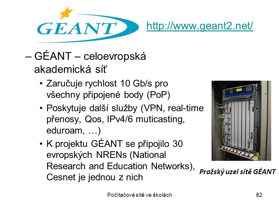 –GÉANT – celoevropská akademická síť Zaručuje rychlost 10 Gb/s pro všechny připojené body (PoP) Poskytuje další služby (VPN, real-time přenosy, Qos, I