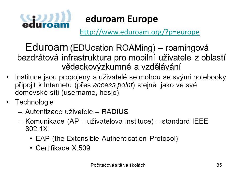 Eduroam (EDUcation ROAMing) – roamingová bezdrátová infrastruktura pro mobilní uživatele z oblastí vědeckovýzkumné a vzdělávání Instituce jsou propoje