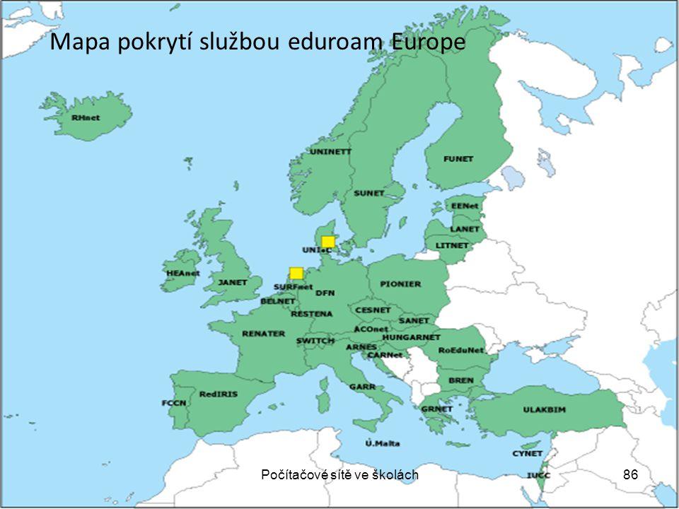 Mapa pokrytí službou eduroam Europe 86Počítačové sítě ve školách