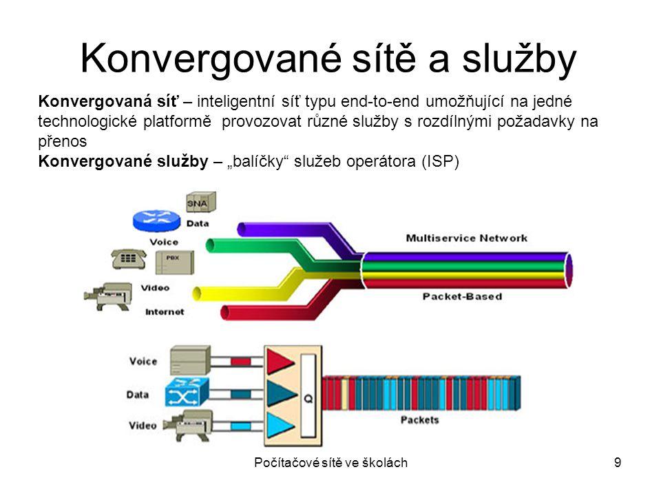 Počítačové sítě ve školách9 Konvergované sítě a služby Konvergovaná síť – inteligentní síť typu end-to-end umožňující na jedné technologické platformě