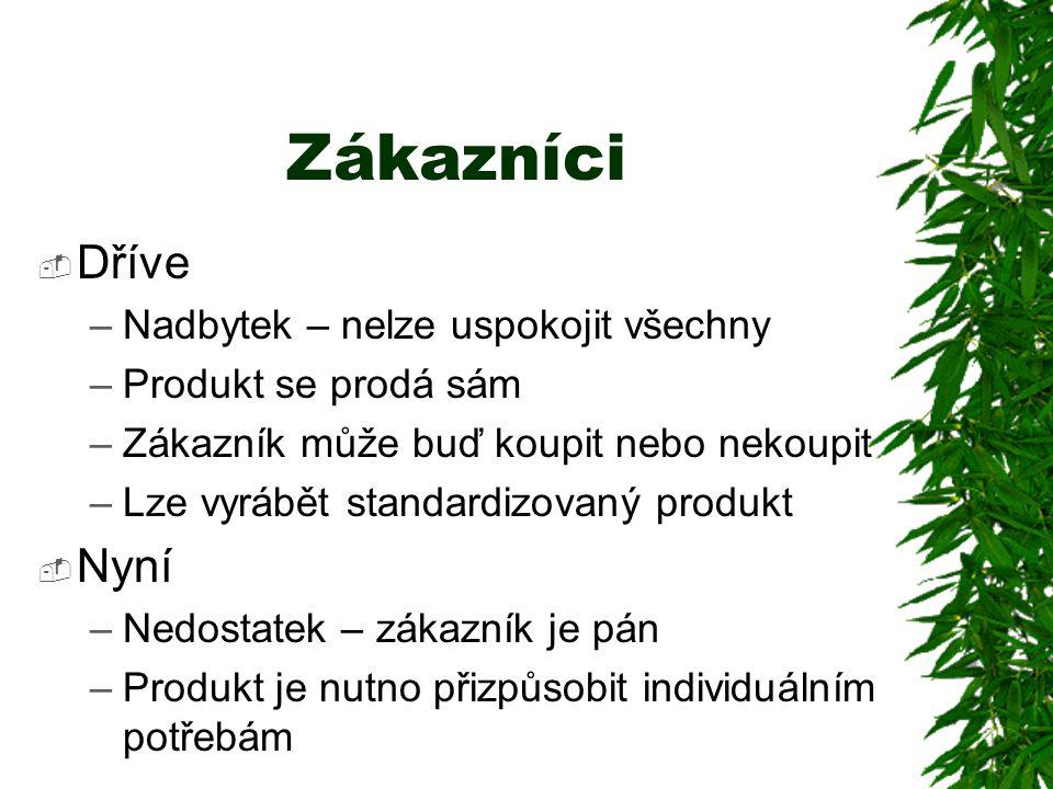 Zákazníci  Dříve –Nadbytek – nelze uspokojit všechny –Produkt se prodá sám –Zákazník může buď koupit nebo nekoupit –Lze vyrábět standardizovaný produkt  Nyní –Nedostatek – zákazník je pán –Produkt je nutno přizpůsobit individuálním potřebám