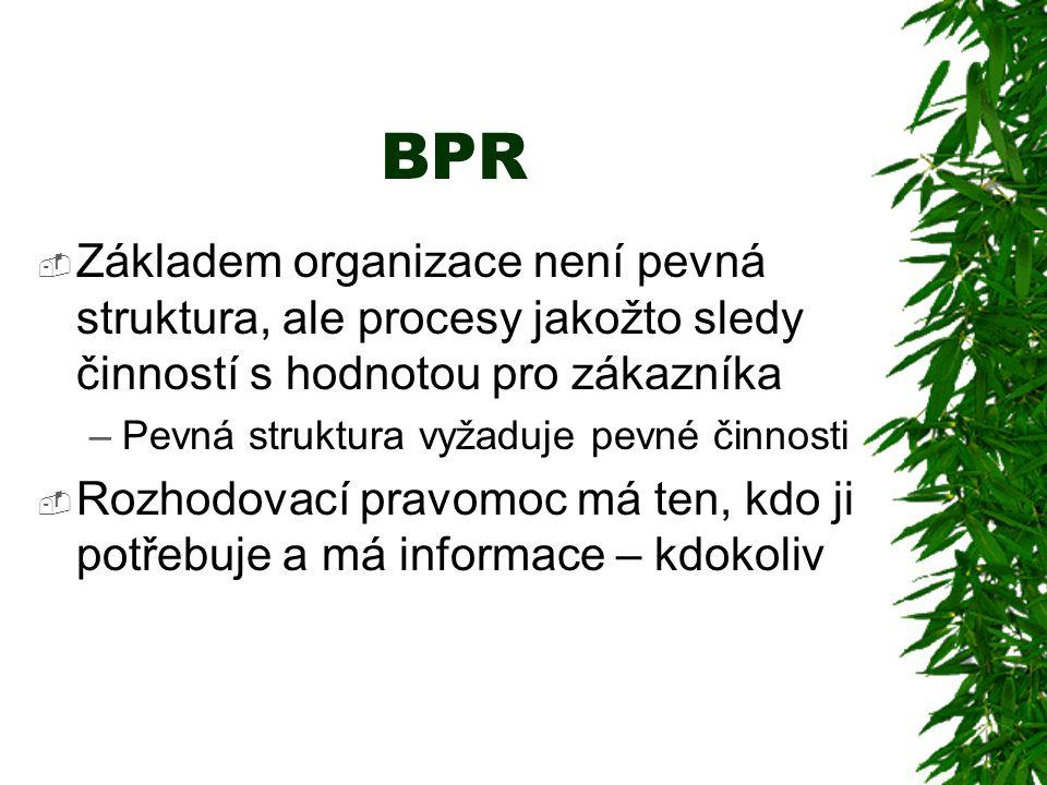 BPR  Základem organizace není pevná struktura, ale procesy jakožto sledy činností s hodnotou pro zákazníka –Pevná struktura vyžaduje pevné činnosti  Rozhodovací pravomoc má ten, kdo ji potřebuje a má informace – kdokoliv