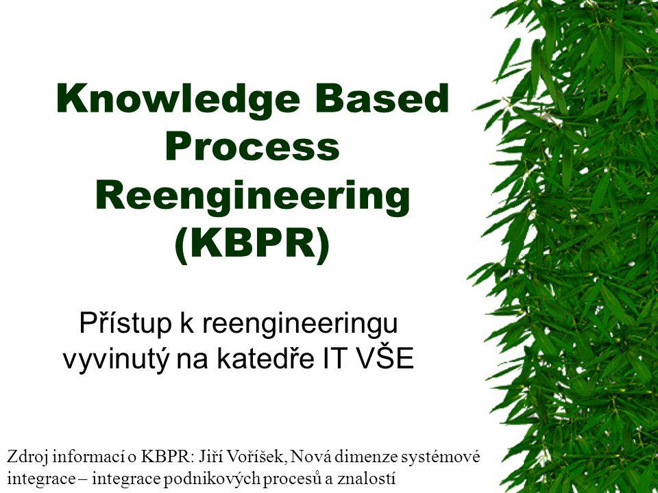 Knowledge Based Process Reengineering (KBPR) Přístup k reengineeringu vyvinutý na katedře IT VŠE Zdroj informací o KBPR: Jiří Voříšek, Nová dimenze systémové integrace – integrace podnikových procesů a znalostí